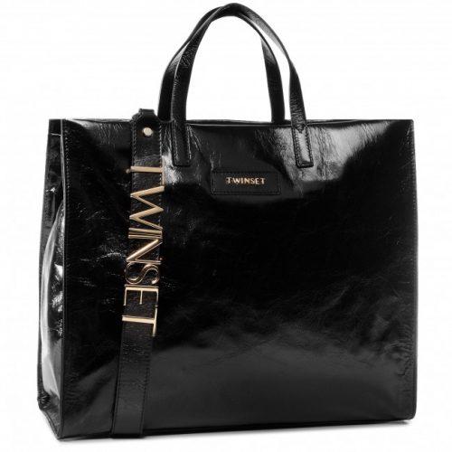 Shopper Twinset in pelle nera