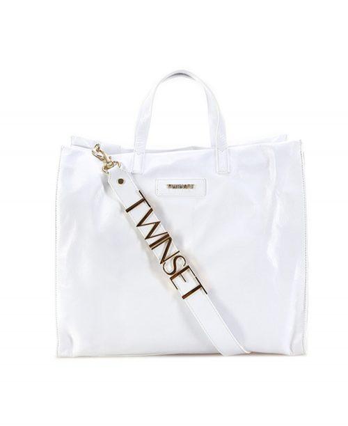 Shopper Twinset in pelle bianco lana