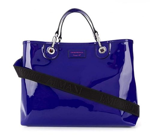 Shopping Emporio Armani in vernice blu navy