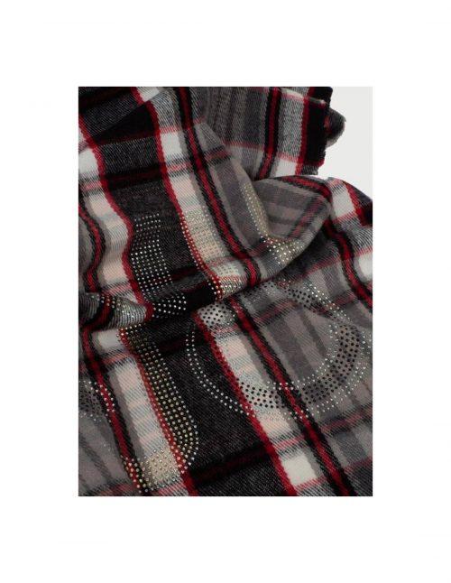 Stola Liu-Jo Check con Log Nero-grigio-rosso