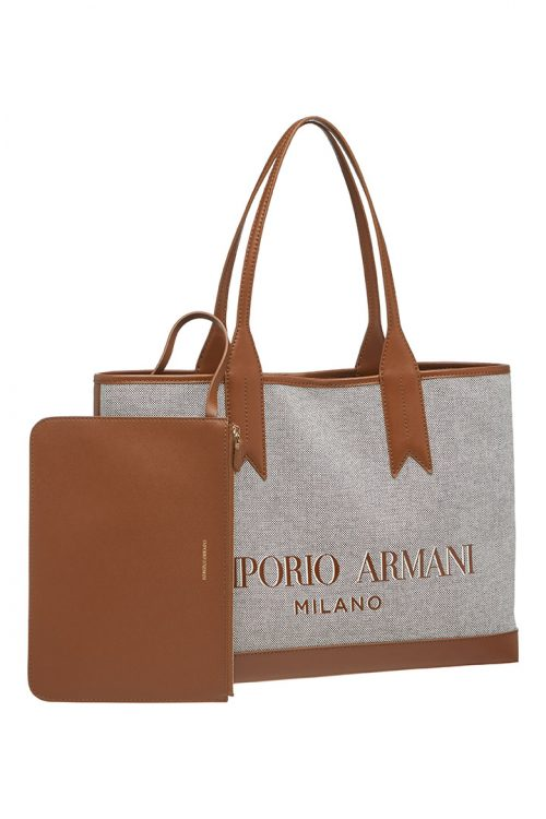 Borsa Shopping Emporio Armani Canvas White/Tobacco